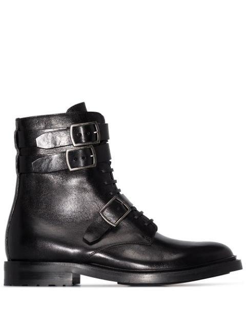 Saint Laurent Black Ceril Leather Ankle Boots