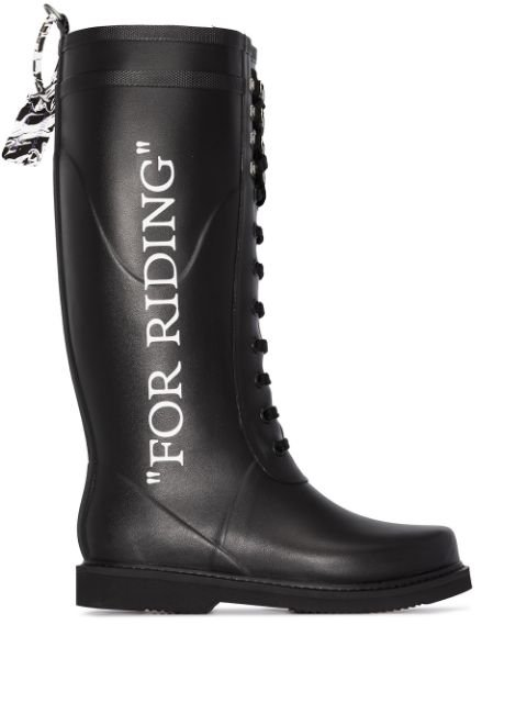 Off-White Black For Riding Wellington Boots