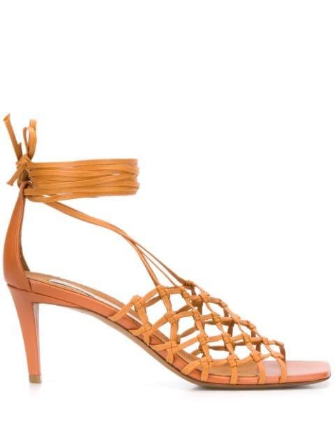 Stella Mccartney 75Mm Woven Cage Sandals Ss20   Farfetch.Com