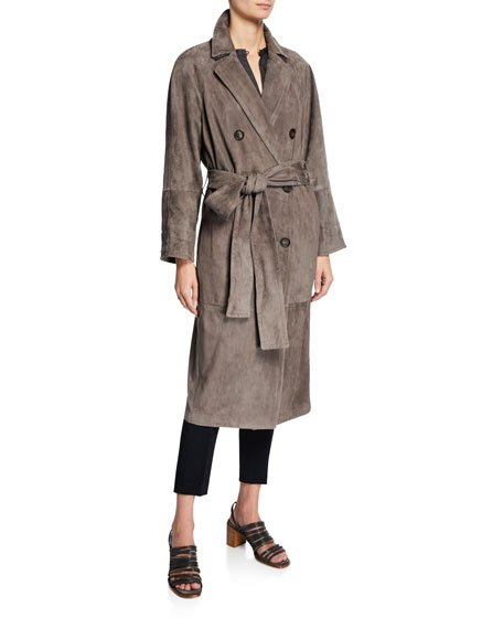Double-Breasted Suede Trench Coat