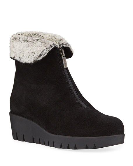 Tessa Suede Zip Wedge Winter Waterproof Booties