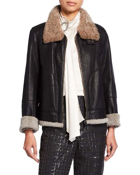 Shearling Fur-Lined Leather Moto Jacket