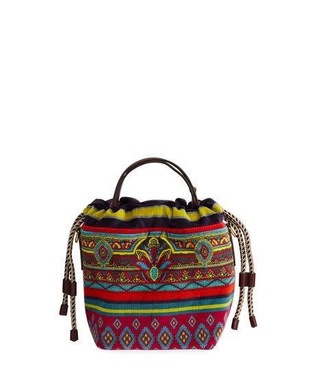 Small Velvet Printed-Fabric Bucket Bag
