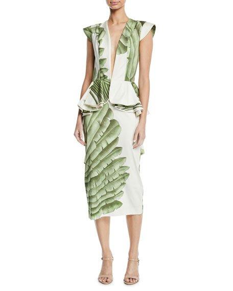Natural Listic Plunging Cap-Sleeve Palm-Print Stretch Cotton-Sateen Midi Dress