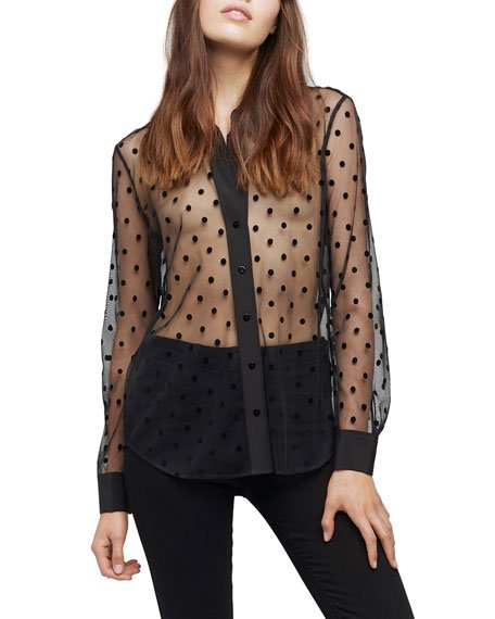 Hailie Polka Dot Long-Sleeve Sheer Blouse