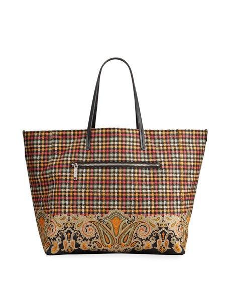 Extra Large Reversible Plaid & Paisley Nylon Tote Bag
