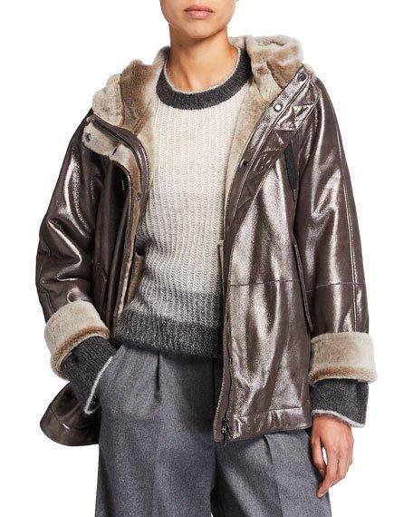 Shearling Metallic Hooded Jacket