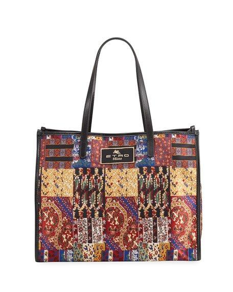 XL Patchwork-Print Shopper Tote Bag