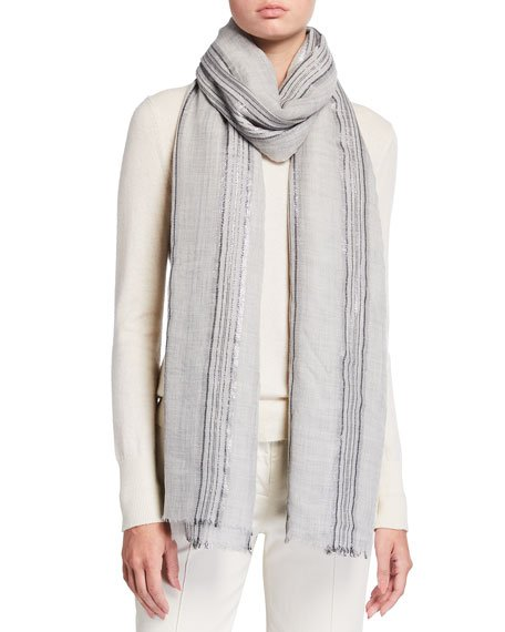 Cashmere Lurex Striped Scarf