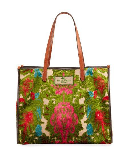 XL Velvet Tapestry Print Shopper Tote Bag