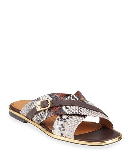 Delaney Snake-Print Crisscross Flat Slide Sandals