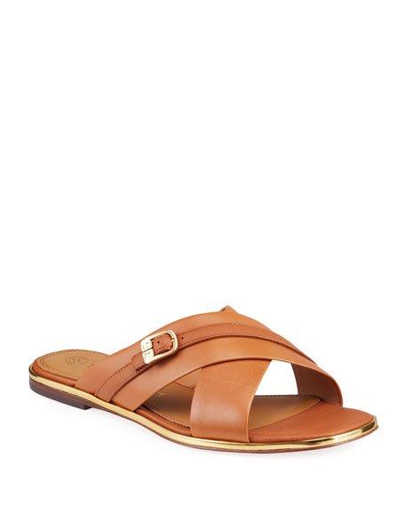 Delaney Crisscross Flat Slide Sandals