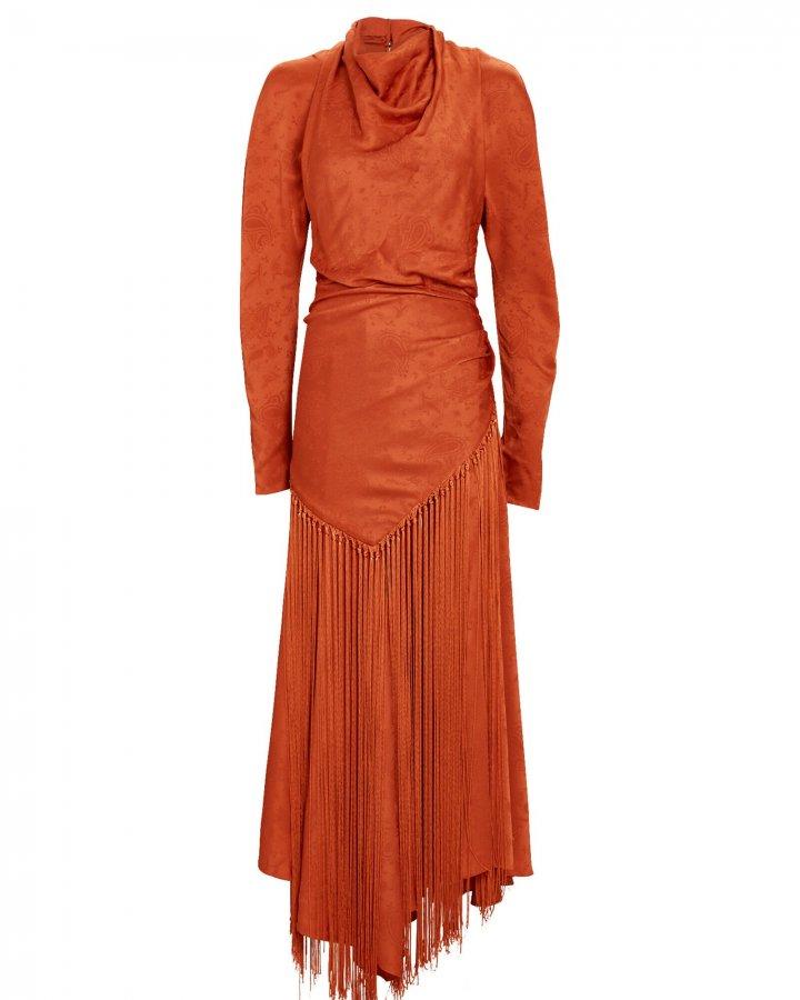 Leighton Fringed Paisley Midi Dress