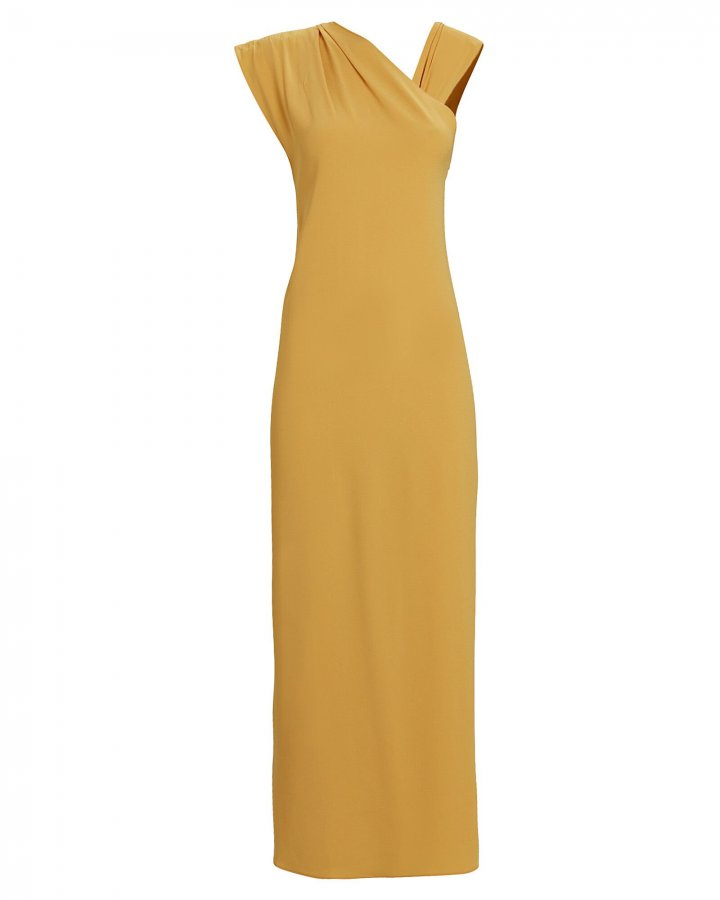 Flavia One-Shoulder Crepe Gown