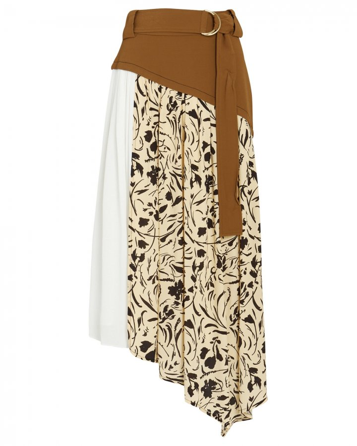 Belted Asymmetrical Patchwork Midi Skirt