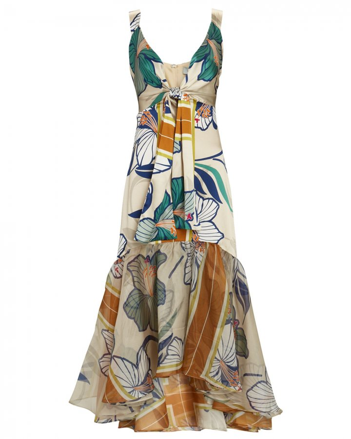 Catanzaro Floral Silk Midi Dress