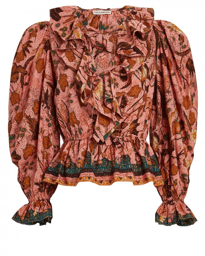 Kalila Ruffled Floral Cotton Blouse