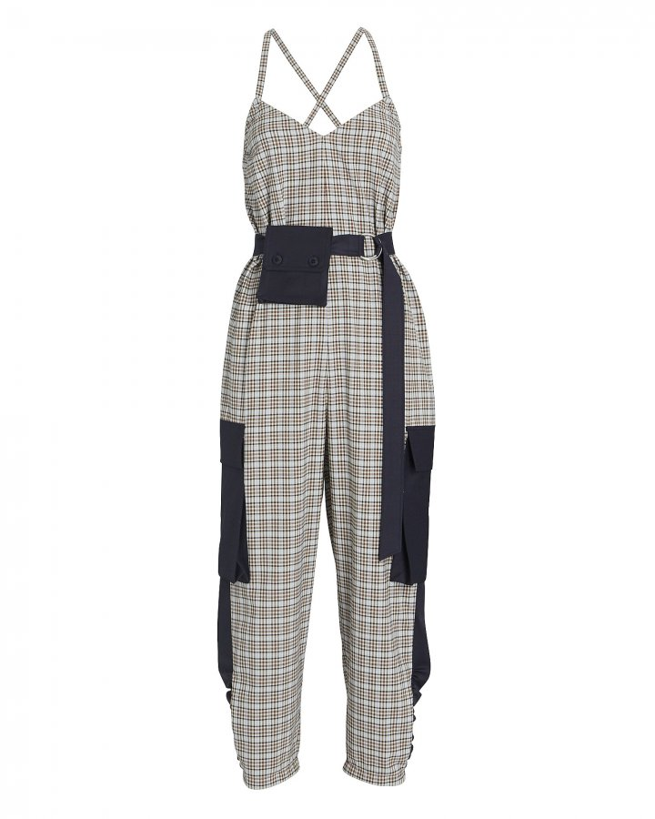 Sana Sleeveless Plaid Cargo Jumpsuit