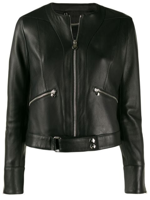 Philipp Plein Zipped Biker Jacket Aw20 | Farfetch.Com