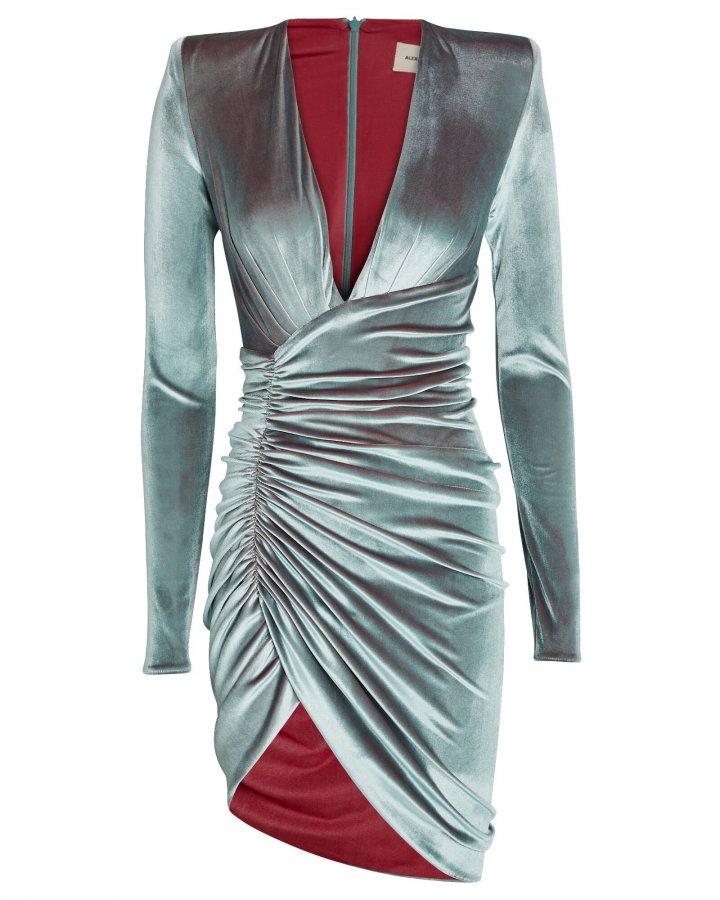Draped Velvet Long Sleeve Dress