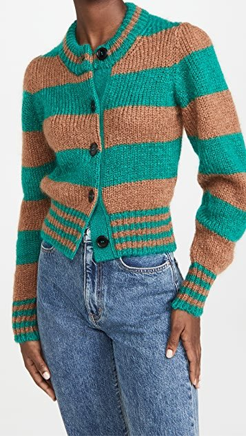 Mohair Cardigan With Gathered Shoulders