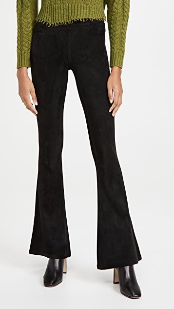 Microsuede Pull On Flare Pants
