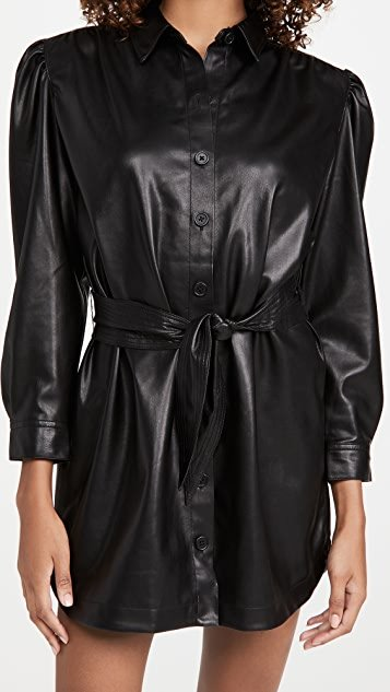 Faux Nelly Belted Vegan Leather Dress