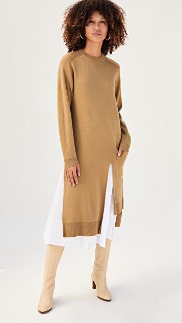 Layered Long Dickey Sweater Dress