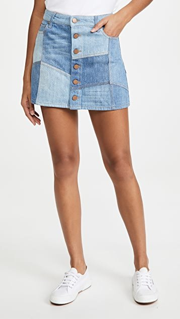 Good High Rise Patchwork Skirt