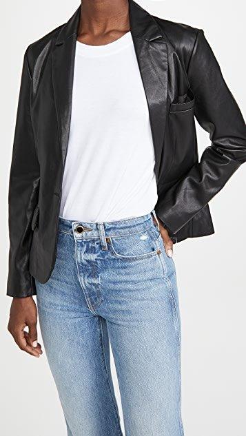 Serious or Not Vegan Leather Blazer