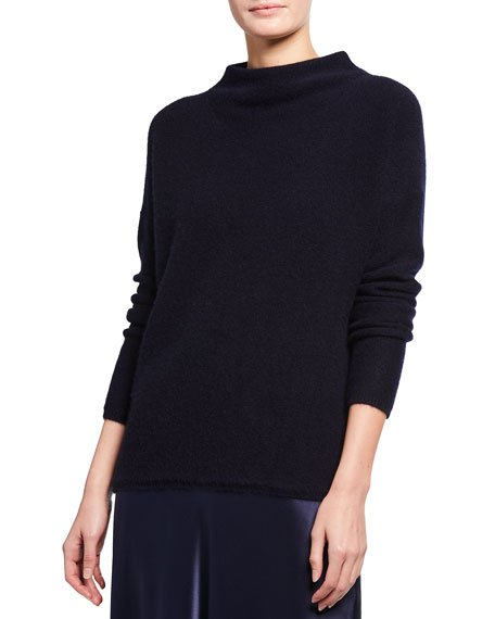 Boiled Cashmere Funnel-Neck Pullover