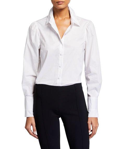 Pleated-Cuff Button-Down Shirt