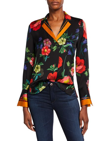 Joyce Floral Print Stretch Silk Blouse