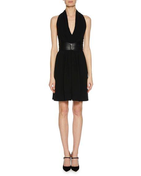 Deep-V Halter Sleeveless Silk Dress w/ Leather Harness