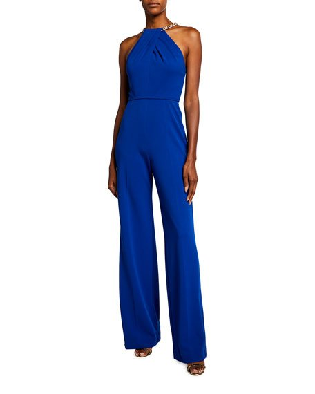 Zinnia Twisted Halter-Neck Jumpsuit with Chain Detail