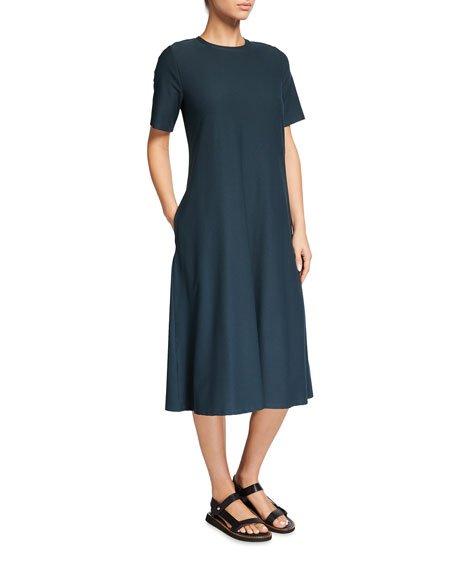 Petite Crewneck Washable Stretch Crepe Midi Dress