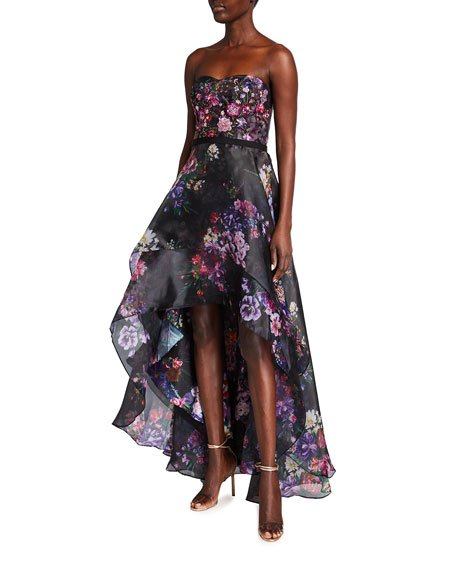 Floral Printed Organza Strapless High-Low Gown