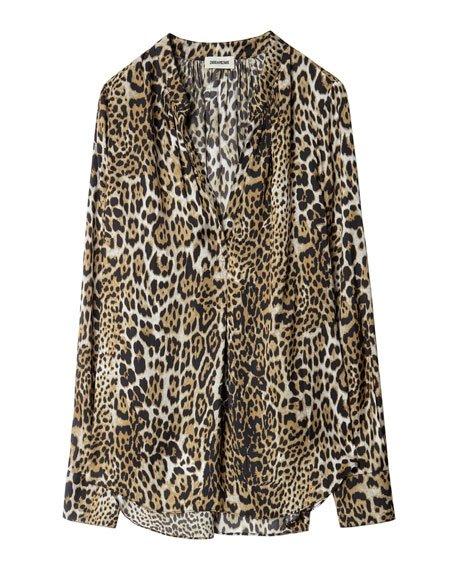 Satin Leopard-Print Blouse