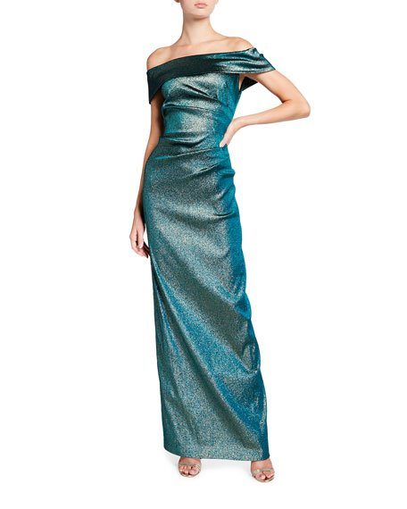 Metallic Jacquard Off-Shoulder Draped Column Gown
