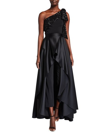 Gavin Sequin Trim Bow-Shoulder Jumpsuit w/ Overskirt