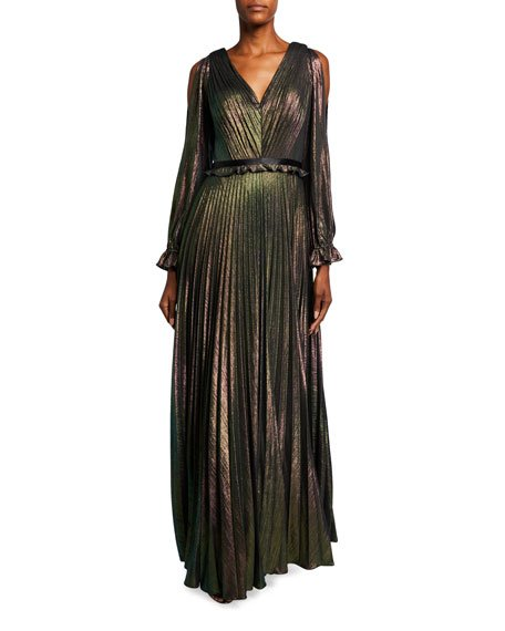 Metallic Lame V-Neck Long-Sleeve Pleated A-Line Gown