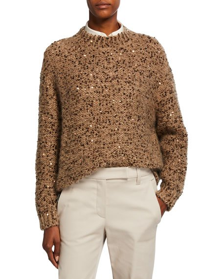 Mohair Sequined Pullover Sweater