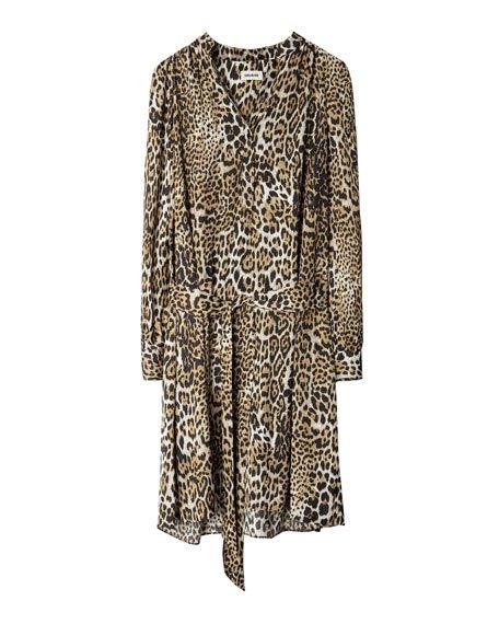 Satin Leopard-Print Midi Dress
