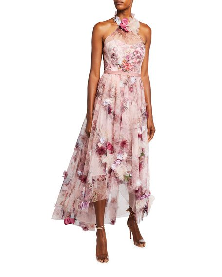 High-Low Floral Printed Tulle Halter Dress with 3D Flowers