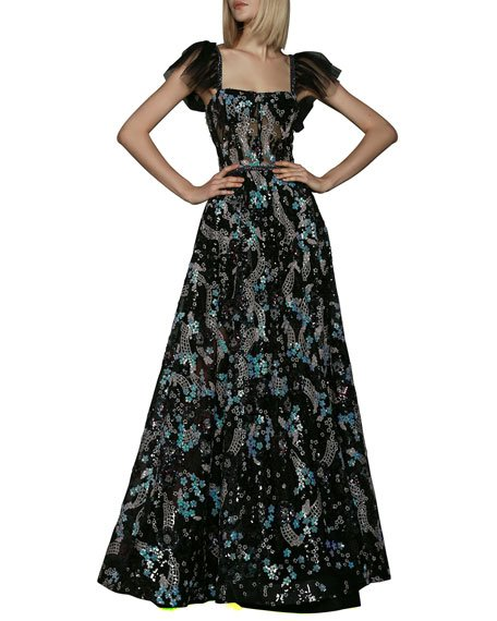 Annabelle Sequin Gown with Tulle Sleeves