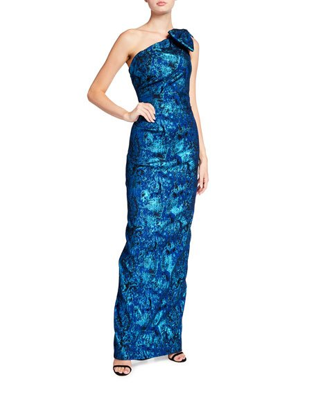 Bow-Shoulder Metallic Stretch Jacquard Column Gown