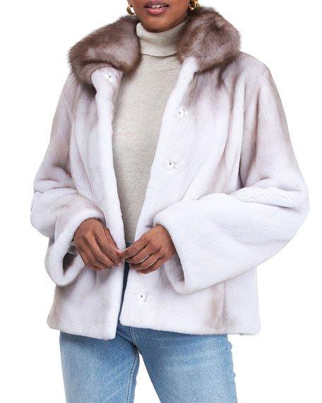 Mink Jacket w/ Stone Marten Fur Collar