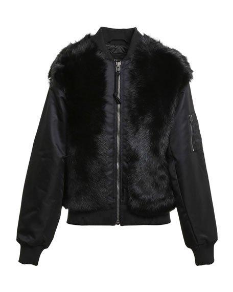 Shearling Fur Bomber Jacket