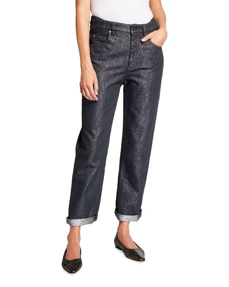 Metallic Garment Dyed Cuffed Denim Jeans