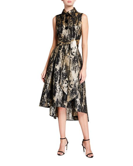 Metallic Jacquard Sleeveless High-low Shirtdress
